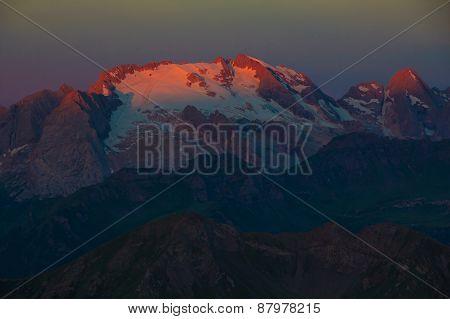 Sunrise In Dolomites - First Sunrays On Marmolada Mountain