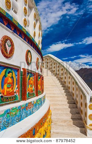 Shanti Stupa In Leh, Buddhist Monument, Ladakh, India