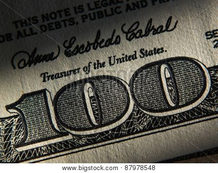 The fragment of 100 dollar bill. Close up