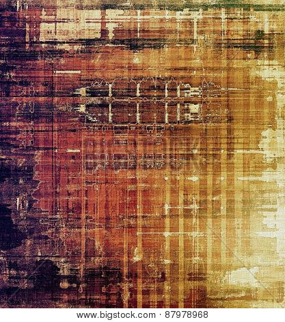 Old abstract grunge background for creative designed textures. With different color patterns: purple (violet); yellow (beige); brown