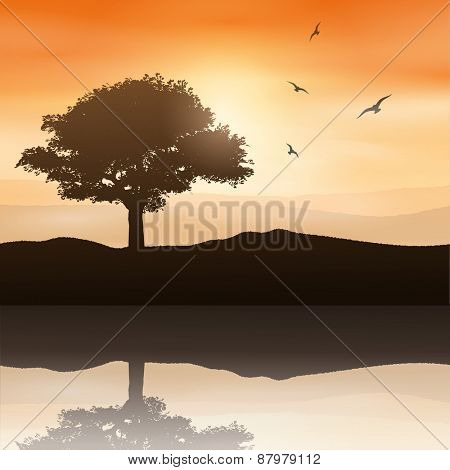 Silhouette of a tree against a sunset sky reflected in water