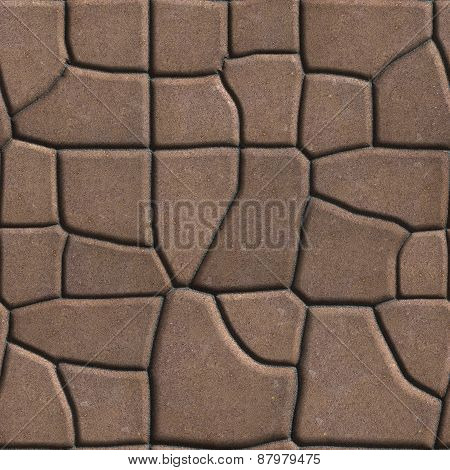 Brown Figured Paving Slabs of Different Value which Imitates Natural Stone.