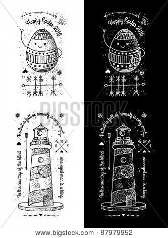 Trendy Retro Vintage Insignias - Badges vector set with the lighthouse - Happy Holidays