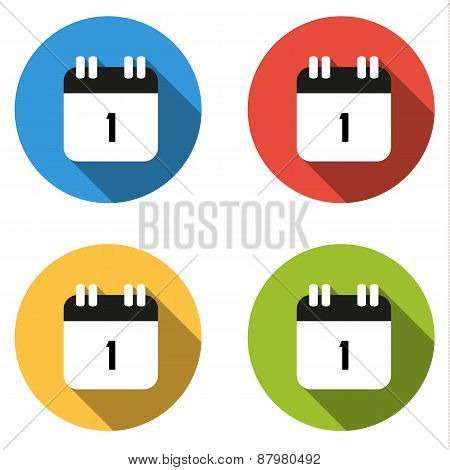 Collection Of 4 Isolated Flat Buttons (icons) For Number 1