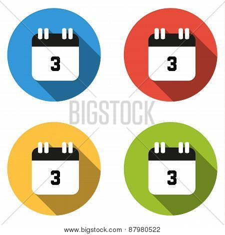 Collection Of 4 Isolated Flat Buttons (icons) For Number 3