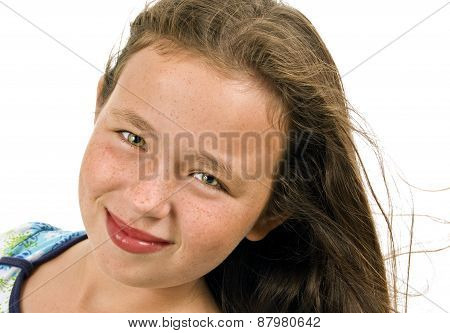Little Girl Smiling With Hair Blowing