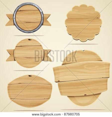 Set of wood elements for design. Vector illustration