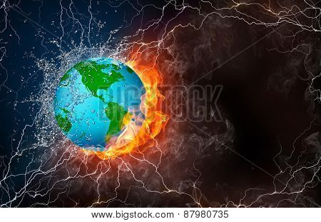 Globe on fire and water with lightening around on black background. Horizontal layout with text space.