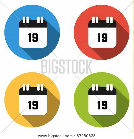 Collection Of 4 Isolated Flat Buttons (icons) For Number 19
