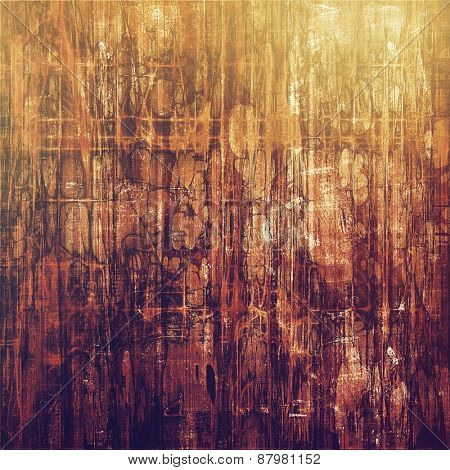 Grunge texture with decorative elements and different color patterns: purple (violet); yellow (beige); brown