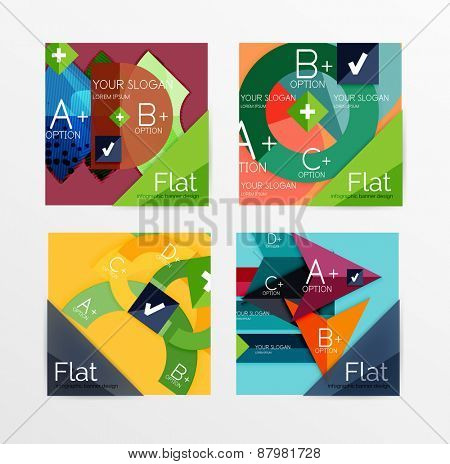Flat design square shape infographic banner with sample option text