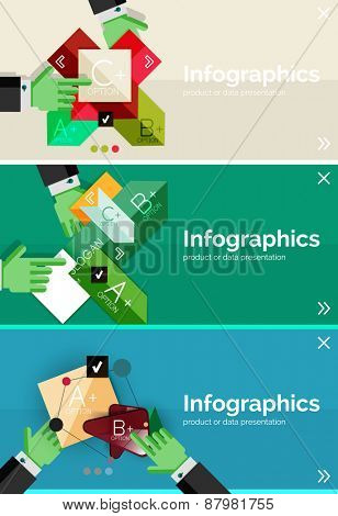 Set of infographic flat design banner with hands showing the product or data