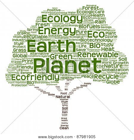 Vector Conceptual green tree made of ecology, recycle or energy word cloud