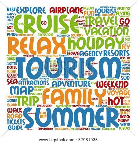 Vector concept or conceptual abstract summer travel or tourism word cloud