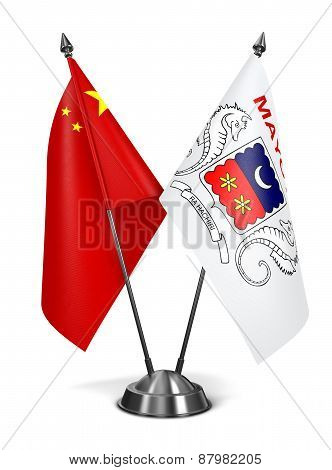 China and Mayotte - Miniature Flags.
