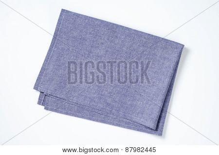 blue napkin on white background