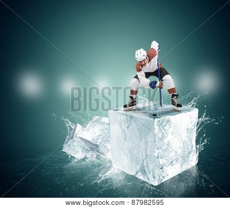 Expressive image of an active hockey player