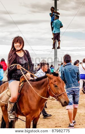 Horseback Girl In Shorts, Nadaam Horse Race, Mongolia