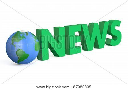 3D Globe With Green Word News