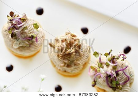 Assorted savoury holiday snacks on plate