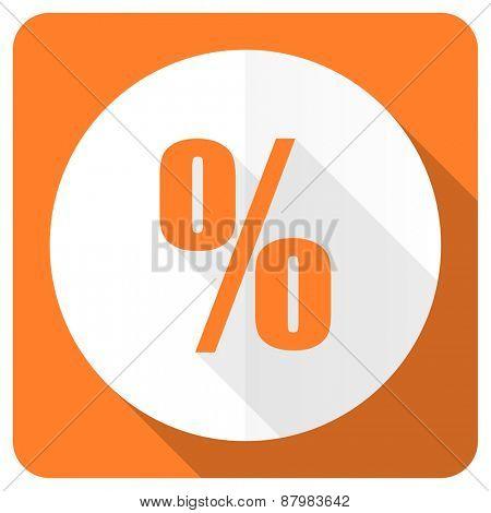 percent orange flat icon