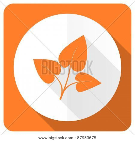 leaf orange flat icon nature sign