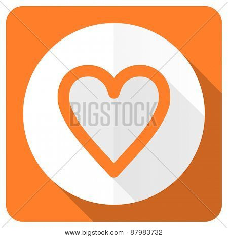 heart orange flat icon love sign