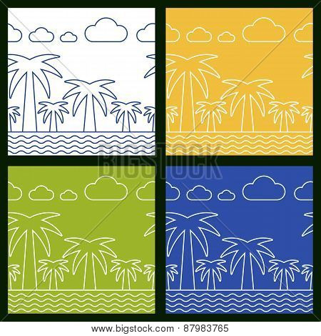 Set Of Summer Beach Vector Seamless Background. Palm Tree, Sea And Clouds Line Silhouette Illustrati