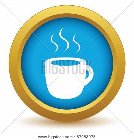 Gold cup of coffee icon