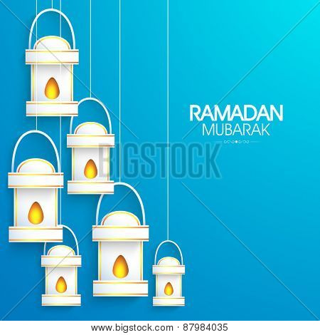 Shiny illuminated lanterns or lamps on sky blue background for holy month of Muslim community Ramadan Kareem celebration.