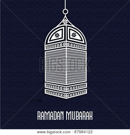 Stylish arabic lantern on purple background for holy month of prayers, Ramadan Kareem celebrations.