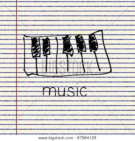 Illustration Of A Music Design On A Sheet Of Lined Paper