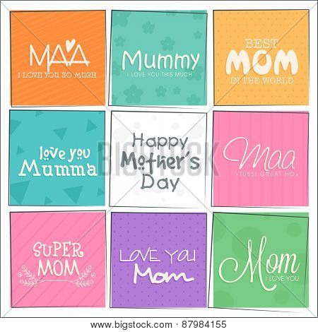 Colorful set of greeting cards decorated with stylish typography for Happy Mother's Day celebration.