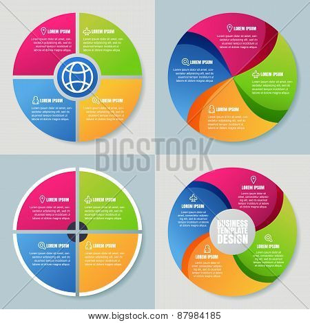 Set Of Infographics Template, Abstract Colorful Circle Vector Background. Concept For Business, Diag