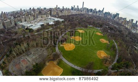 Aerial of Central Park's Great Lawn