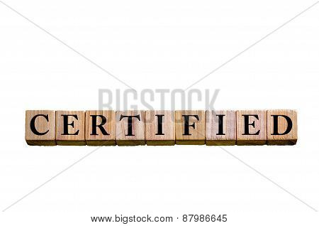 Word Certified Isolated On White Background