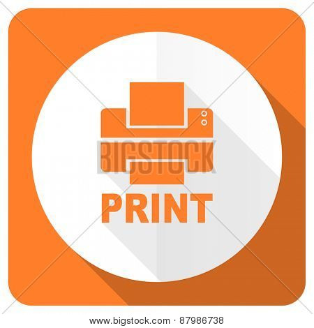 printer orange flat icon print sign