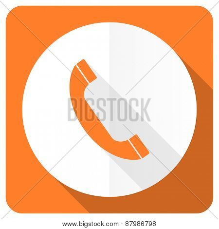 phone orange flat icon mobile phone sign
