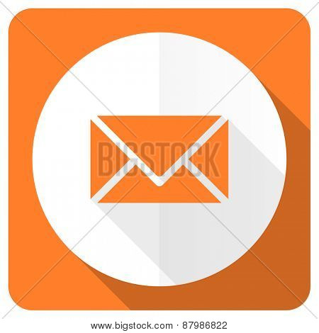email orange flat icon post sign