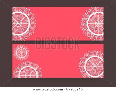 Pink website header or banner set decorated with beautiful floral design.