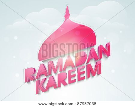 Shiny pink mosque and text Ramadan Kareem design in blue sky for Islamic holy month of prayers celebrations.