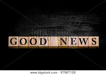 Message Good News Isolated On Black Background