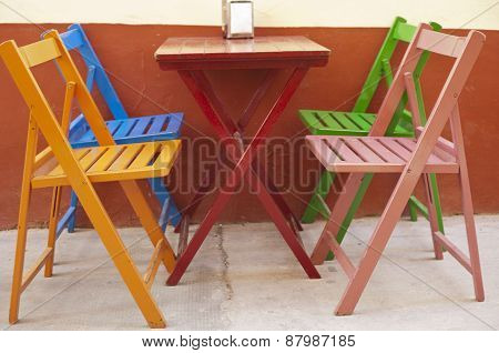 Colorful Chairs And Table