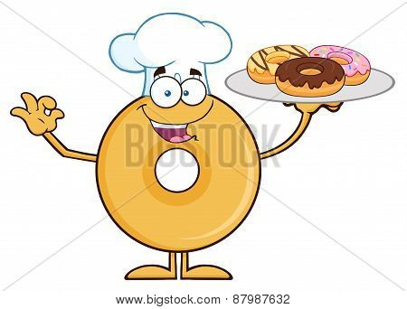 Donut Cartoon Character Wearing A Chef Hat And Serving Donuts