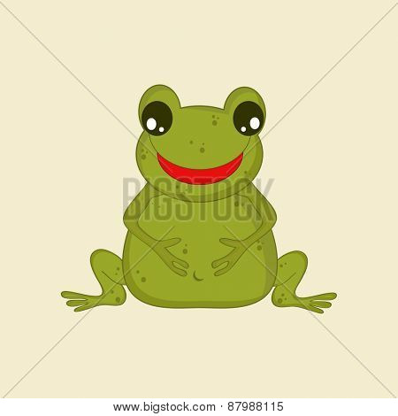 Happy frog cartoon on beige background.
