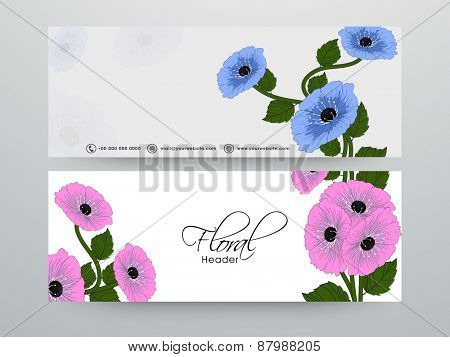 Website header or banner set with free space for your text decorated by floral design.