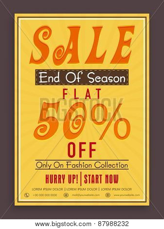 Vintage End of Season Sale poster, banner or flyer design with flat discount offer on fashion collection.