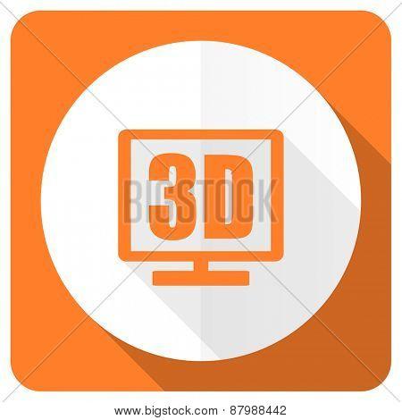 3d display orange flat icon