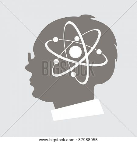 Silhouette profile of a man with an icon of the atom.