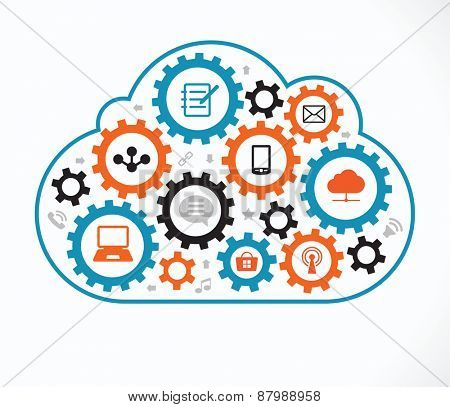 Social network, communication in the global computer networks. Flat vector illustration